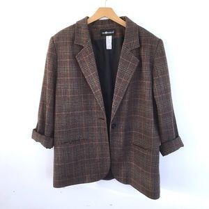 Vintage brown tweed wool blend blazer